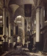 Interior of a Protestant  Gothic Church with Architectural Elements of the Oude Kerk and Nieuwe Kerk in Amsterdam
