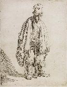Beggar in a high cap,Standing and Leaning on a stick, REMBRANDT Harmenszoon van Rijn