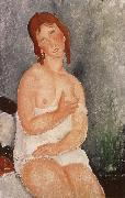 Red-Haired young woman in chemise, Amedeo Modigliani