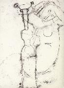 Sheet of Studies with African Sculpture and Caryatid, Amedeo Modigliani
