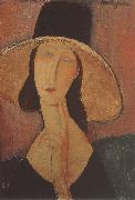 Portrait of Jeanne hebuterne iwth large hat, Amedeo Modigliani