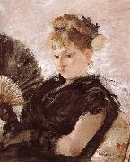 The woman holding a fan
