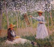 Suzanne Reading and Blanche Painting by the Marsh at Giverny, Claude Monet