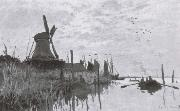 Windmills near Zaandam, Claude Monet
