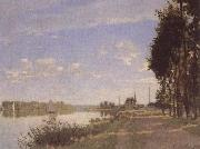 Claude Monet Riverside path at Argenteuil oil painting reproduction