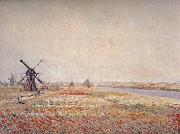 Field of Flowers and Windmills Near Leiden, Claude Monet