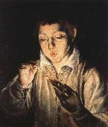 A Boy blowing on an Ember to light a candle, El Greco