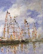 Sailing Ships at Deauville, Eugene Boudin
