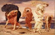 Frederick Leighton Greek Girls Picking up Pebbles by the Sea oil painting reproduction