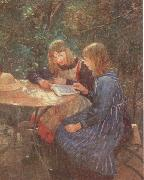Fritz von Uhde Two daughters in the garden oil painting