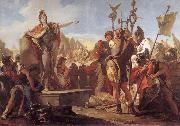 Giovanni Battista Tiepolo Queen Zenobia talk to their soldiers oil painting reproduction