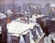 Snow-covered roofs in Paris, Gustave Caillebotte
