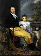 Joseph Denis Odevaere Portrait of a Prominent Gentleman with his Daughter and Hunting Dog oil painting on canvas