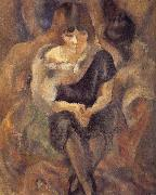 Jules Pascin Lucy wearing fur shawl oil painting