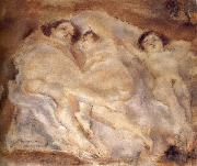 Jules Pascin Three nude lade of lie oil painting