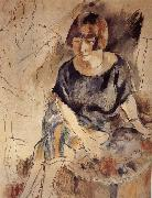 Jules Pascin Lucy and Aiermina are seated on the soft mat oil painting