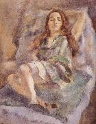 Jules Pascin The red hair girl wearing  green dress oil painting