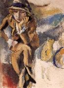 Jules Pascin Seating Portrait of Aierami oil painting