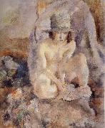 Nude female wearing green hat