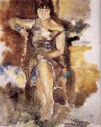 Jules Pascin Lucy wearing the roseal dress oil painting