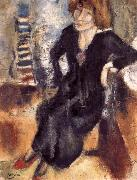 Jules Pascin Aiermila wearing the black dress oil painting