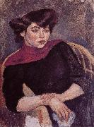 Jules Pascin Woman wearing the purple shawl oil painting