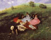 Merse, Pal Szinyei Luncheon on the Grass oil painting reproduction
