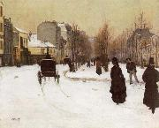 Norbert Goeneutte The Boulevard de Clichy Under Snow oil painting