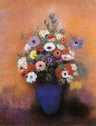 Anemoner and syrener in bla vas, Odilon Redon