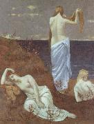 Pierre Puvis de Chavannes Young Women on the Seashore oil painting reproduction