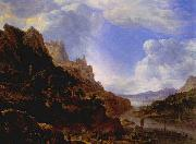 SAFTLEVEN, Cornelis Rhineland Fantasy View oil painting