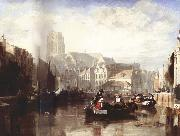 Sir Augustus Wall Callcott View of the Grote Kerk,Rotterdam,with Figures and Boats in the Foreground oil painting