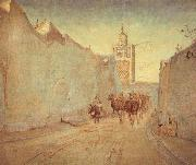 Theodor Esbern Philipsen Street in Tunis oil painting