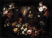 unknow artist Garland of Flowers with St Anthony of Padua oil painting reproduction