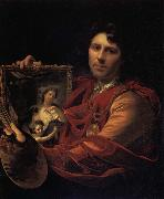 Adriaen van der werff Self-Portrait with a Portrait of his Wife,Margaretha van Rees,and their Daughter,Maria oil painting artist