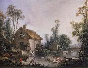 Francois Boucher Landscape with a Watermill oil painting reproduction