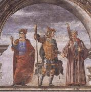 Domenico Ghirlandaio and Assistants,The Roman heroes Decius Mure,Scipio and Cicero, Sandro Botticelli