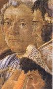 White-haired man in group at right, Sandro Botticelli