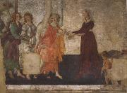 Venus and the Graces offering gifts to a youg woman, Sandro Botticelli