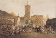 William Henry Pyne The Pig Market,Bedford with a View of St Mary's Church (mk47) oil painting