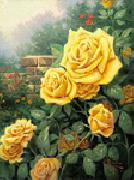 unknow artist Yellow Roses in Garden oil painting