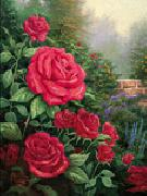 unknow artist Red Roses in Garden oil painting