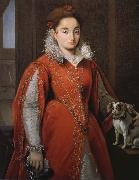 Alessandro Allori With the red dog lady oil painting reproduction