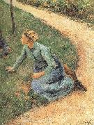 Camille Pissarro Peasant woman sitting on the side of the road oil painting on canvas