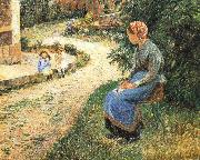 Camille Pissarro Sitting in the garden of the maids oil painting reproduction