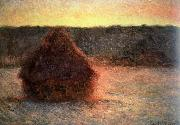 hay stack at sunset,frosty weather, Claude Monet