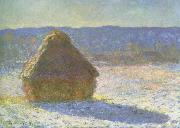 haystack in the morning,snow effect, Claude Monet