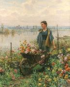 Daniel Ridgeway Knight Gathering Flowers oil painting reproduction