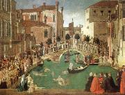 the miracle of the true cross near san lorenzo bridge, Gentile Bellini