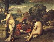Giorgione Pastoral ensemble oil painting on canvas